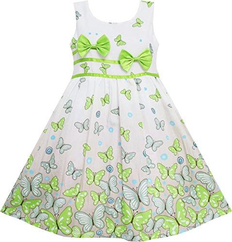 Sunboree Mädchen Kleid Schmetterling Grün Doppelklicken Bogen Binden Sommer Strand Gr.128-134
