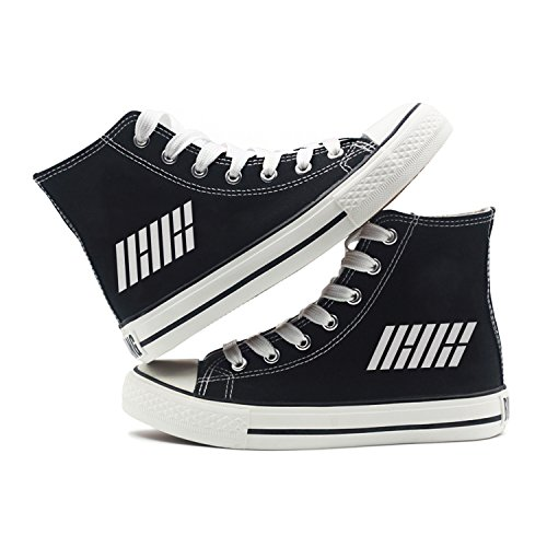 Fanstown Kpop Sneakers Canvas Shoes Womens' Size Black Fanshion Memeber Hiphop Style Fan Support with lomo Card