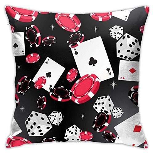 Xiangyang Cojines,Cushion Sofa Funda de Almohada Cuadrada de Casino Negra y roja, Funda de Almohada Decorativa Moderna, Adecuada para Decorar sofá, 45X45cm