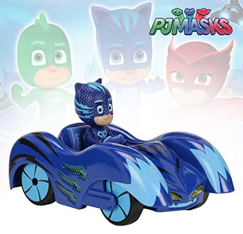 Dickie Toys PJ Masks Mission Racer Cat-Car, Die-Cast Fahrzeug mit Freilauf, Licht & Sound, spielt Titelmelodie aus der Serie, inkl. Catboy Figur, 12 cm, blau, inkl. Batterien