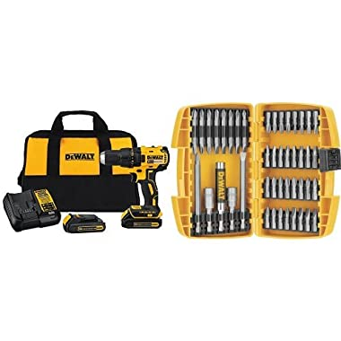 DEWALT DCD777C2 20V Max Lithium-Ion Brushless Compact Drill Driver with DW2166 45-Piece Screwdriving Set