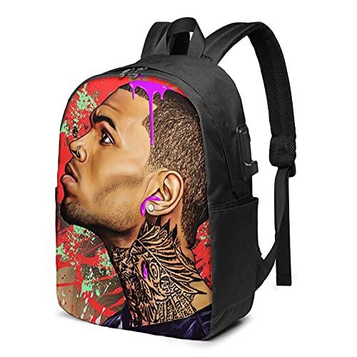 XCNGG Mochila de Viaje Chris Brown Music, Mochila para computadora portátil para Hombres y Mujeres, Mochila de 17 Pulgadas con Puerto de Carga USB