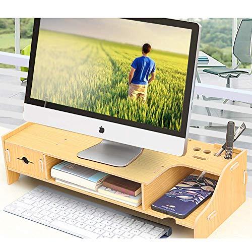 Monitorhouder van hout, multifunctioneel, met sleuf voor kabelmanagement voor lade, voor kantoor en printer, 49 x 20 x 12 cm