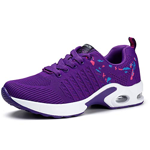 Women's Lightweight Tennis Sneakers Athletic Casual Sports Knit Workout Running Walking Shoes Purple 6
