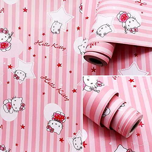 Zelfklevend behang, waterdicht, 10 meter, bloemenmotief, warme muursticker, voor meisjes, slaapkamer, decoratie voor woonkamer, slaapkamer, 1 rol, 45 cm, 10 m, roze gestreept