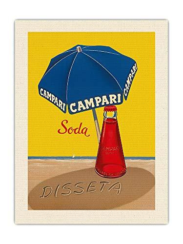Pacifica Island Art Soda Campari - Hidratos - Sombrilla Azul - Póster publicitario de A. Traub c.1930s - Impresión de Arte de Lienzo ORGÁNICO Crudo 46x61cm