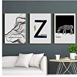 WEDSA Mural Lienzo Pintura Cartel decoración del hogar Nordic Cartoon Animal Zebra Art Canvas Painting Print Yellow Table Lamp Poster Pictures For Kids Room Nursery Home Decor30x40cmx3 Sin Marco