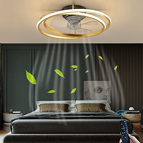 LED Deckenventilatoren Beleuchtung Mit Fernbedienung 30W Moderne 2 Ringe Wohnzimmerlampe Kinderzimmer Decke Lampe Stumm Fan Deckenleuchte Nordische Timing-Funktion Schlafzimmerlampe Lüfterlampe,Gold