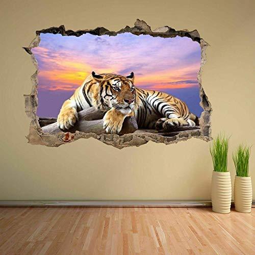 Tiger Sky Sunset Wildlife 3D Etiqueta De La Pared Mural Decal Kids Room Decoración Para El Hogar agujero de la pared 50X70 cm