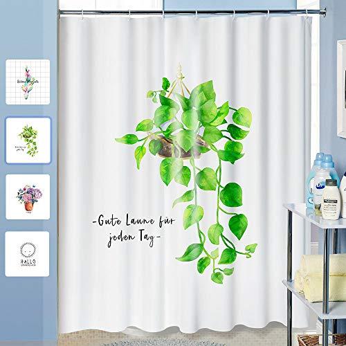 ANZOME Duschvorhang, Kreativer Text & Pflanze Muster, Wasserdicht Anti-Schimmel Duschvorhang, Waschbar, Weiß, 180 x 200 cm, mit Schwere Bleikette & 12 Haken