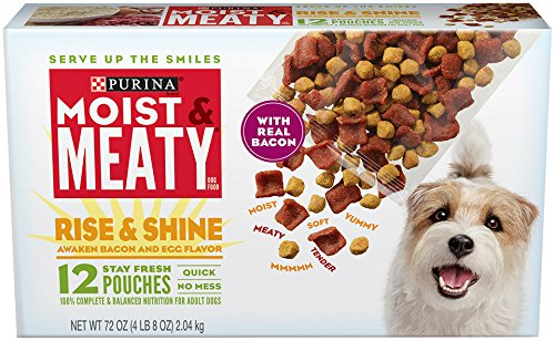 Purina Moist & Meaty Rise & Shine Awaken Bacon & Egg Flavor Adult Wet Dog Food - 12 Ct. Pouches