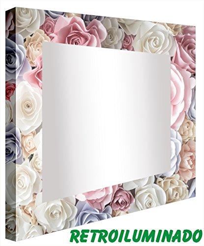 ccretroiluminados rozenkleurige badkamerspiegel met licht, acryl, meerkleurig, 60 x 80 x 5,3 cm