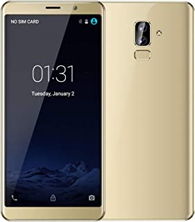 Haihuic Unlocked 3G Smartphone, 6.0 inch HD Screen Android 5.1 512MB RAM 4GB ROM Dual SIM Slots Dual Camera Face ID WiFi GPS Bluetooth Gold