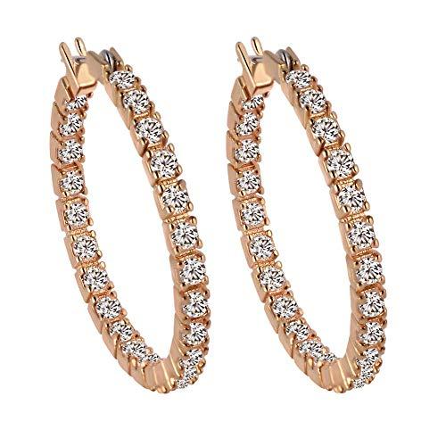 JIAJBG Pendientes de Zircon Imitados Pendientes de Moda Pendientes para Mujer Pendientes Redondos Diamantes Imitados Adecuados para Bodas Y Fiestas Moda/B