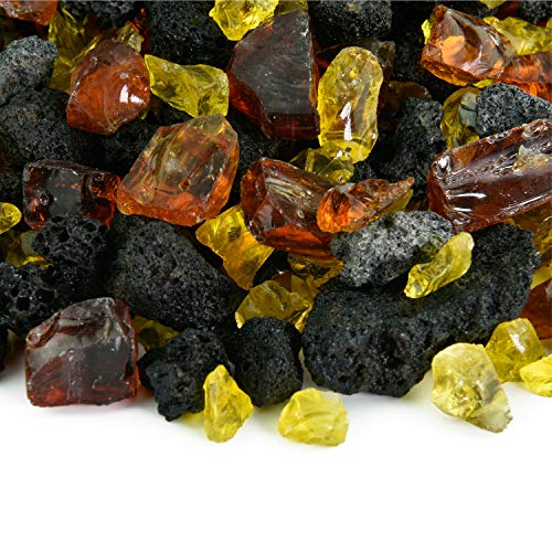 Marigold Glow - Fire Glass and Lava Rock Blend for Indoor and Outdoor Fire Pits or Fireplaces | 10 Pounds | 3/8 Inch - 3/4 Inch