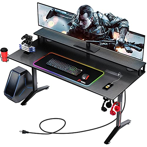 Seven Warrior Gaming Desk 60INCH with RGB Mouse Pad & Power Outlet, Carbon Fiber Surface Gamer Desk with Monitor Stand, Ergonomic Y Shaped Gamer Table with Cup Holder, Headphone Hook, Outlet Organizer