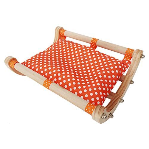 GROOMY Hamster Hängematte, Holz Hamster Meerschweinchen Bett Haus Schlafsofa Spielzeug Nest Hängematte Käfig Zubehör-Orange