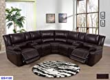 Lifestyle Furniture 3-Pieces Recliner Sectional Sofa Set with 2 Cup Holder Console with Lift up Storage,Brown Bonded Leather(LSFGS4108)