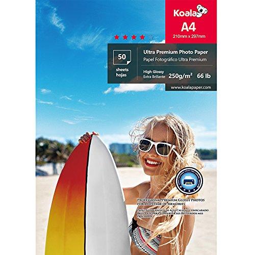 KOALA Papel fotográfico brillante, A4 250 g/m² 50 hojas, con revestimiento de resina avanzada de alto brillo premium, para impresora de inyección de tinta Canon Hp Epson