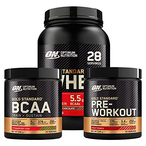 Optimum Nutrition Gold Standard Pre-Workout Mix di Frutta 330g 30 Porzioni + BCAA Aminoacidi Fragola Kiwi 266g 28 Porzioni + 100% Whey Proteine Cioccolato al Latte 896g 28 Porzioni