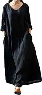Women's Casual Loose Maxi Long Dress Vintage Long Sleeve Cotton Dress