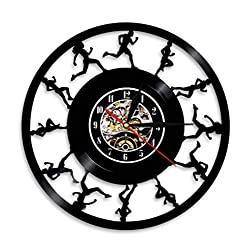 Runners Runners Wall Art Wall Clock Running Track and Field Sports Vinyl Record Cross Country Runners Retro Wall Clock