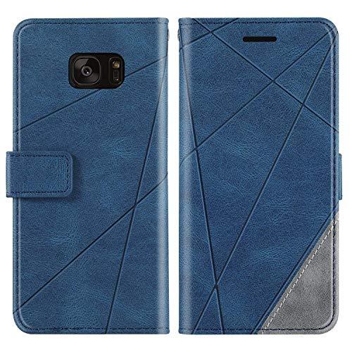 KKEIKO Funda para Galaxy S7 Edge, cartera de piel sintética con ranuras para tarjetas, carcasa de poliuretano termoplástico antigolpes para Samsung Galaxy S7 Edge, color azul