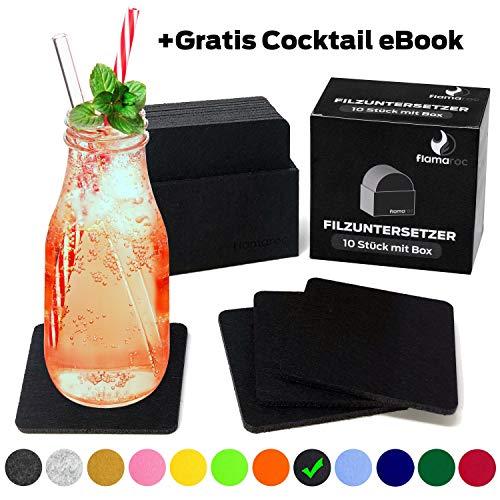 flamaroc® Filzuntersetzer Eckig - 10er Untersetzer Filz Premium-Set mit Box Schwarz, Stylishe Glasuntersetzer in schwarz für Glas, Getränke, Gläser (10 cm rechteckig, schwarz)