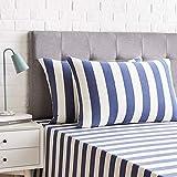 Amazon Basics-Juego de 2 fundas de almohada, diseño de rayas amplias, 50 x 80 cm, Azul Marino