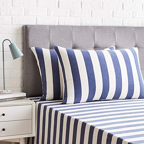 AmazonBasics - Kissenbezüge, Jersey, 2er-Pack, breite Streifen, 40 x 80 cm, Marineblau
