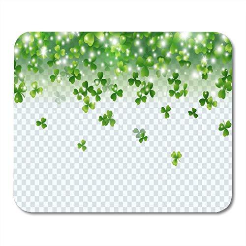 Mau Mat,Abstrakte Irische Kleeblatt Fallende Blätter Grünes Symbol Viel Glück Personalisierte Rutschfeste Mousepads,18x22cm