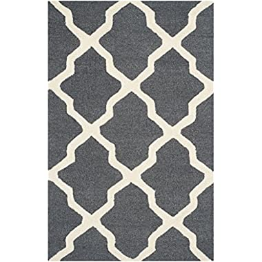 Safavieh Cambridge Collection CAM121X Handcrafted Moroccan Geometric Dark Grey and Ivory Premium Wool Area Rug (2'6  x 4')