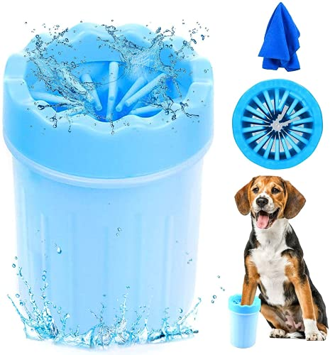 MISHAER Limpiador de Patas de Perro,Taza de Limpieza para Mascotas,Limpiador de Patas para Perro Gato,Lavadora de pies de Perro,Taza de pie para Mascotas (azul)