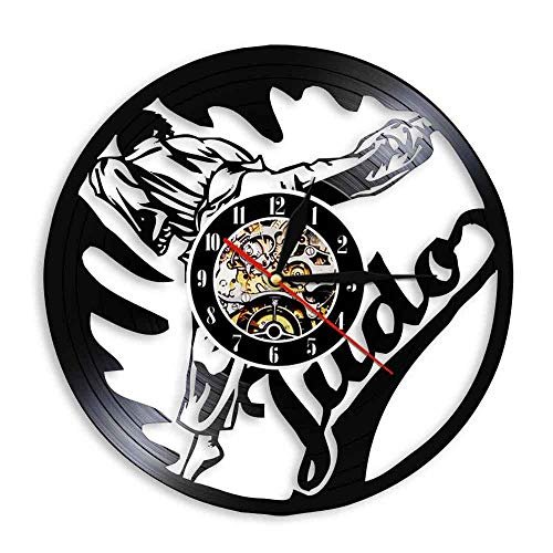 CVG Judo Martial Wall Art Decor Judo Gym Reloj de Pared Jiu-Jitsu Vintage Vinyl Record Reloj de Pared Japonés Fighting Martial Judoka Regalos