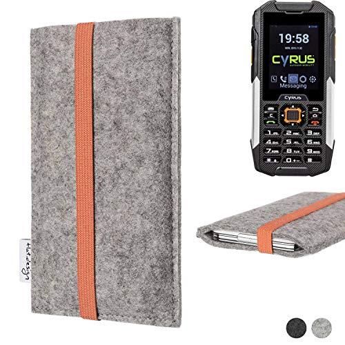 flat.design Handy Hülle Coimbra für Cyrus cm 16 - Schutz Case Tasche Filz Made in Germany hellgrau orange