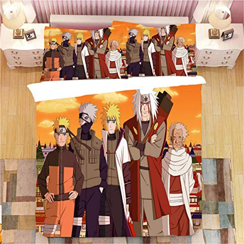 Jiaxiin Naruto - Hatake Kakashi, Jiraiya and Uzumaki Naruto Anime 3pcs Bettwäsche Bettbezug Sets Weiche Bettbezug Baumwolle Kissenbezug (US-Full)