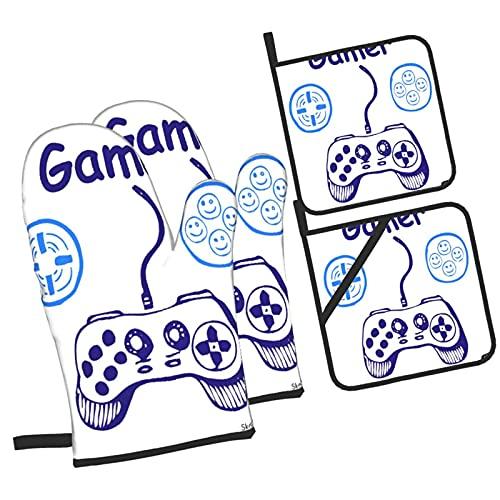 Boceto de Jugador de Controlador de Videojuego con D-Pad y diseño,4Pcs Guantes de Cocina y Juegos de Soportes para Macetas,con Caliente Almohadillas para Cocinar,Hornear,Asar a la Parrilla Guantes