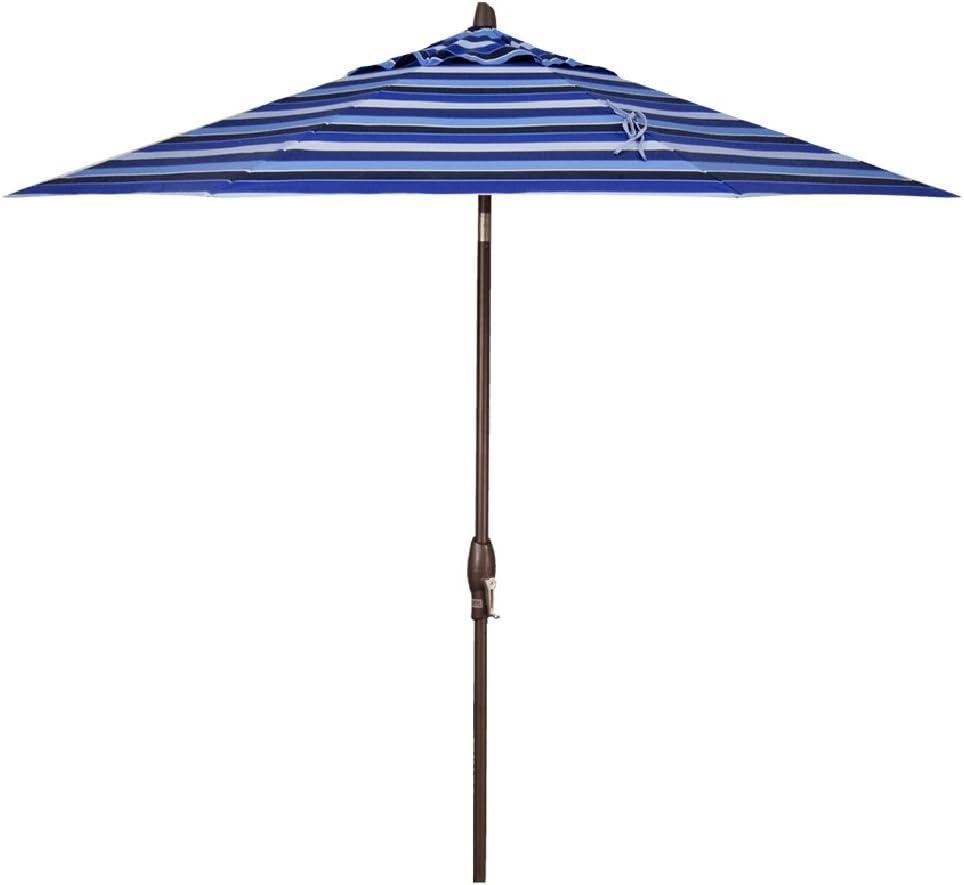Treasure Garden 9-Foot (Model 810) Deluxe Auto-Tilt Market Umbrella Bronze Frame Sunbrella Fabric: Milano Cobalt Stripe (Includes 3 Year Extended Frame Warrantee)