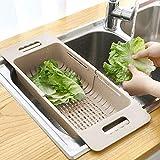 MineSign Extendable Over the Sink Colander Fruits and Vegetables Drain Basket Adjustable Strainer Sink Washing Basket for Kitchen (Beige)