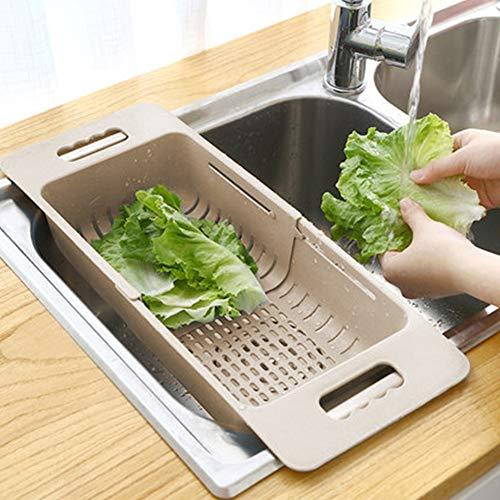 MineSign Collapsible Colander Fruits and Vegetables Drain Basket Adjustable Strainer Over the Sink for Kitchen (Beige)