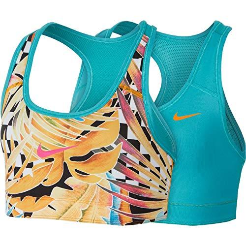 Nike G NP Bra Classic Rev Aop1 Top da Ragazza, Bambine, AQ9156_L, Arancione/Turchese/Fucsia (Orange Peel/Cabana/Laser Fuchsia), L