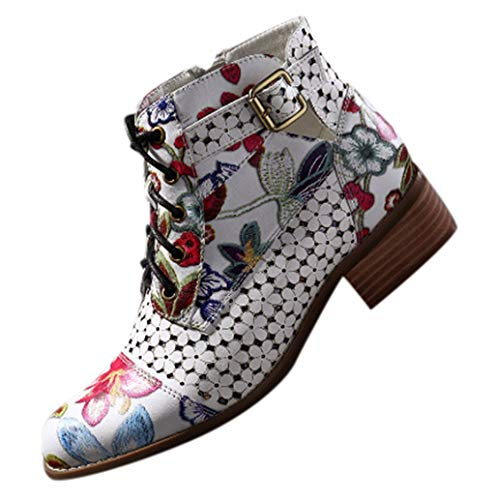 Short boots Lace Up Stitching Ankle Boots Ink Painting Flower Pattern Cow Leather Splicing shoes