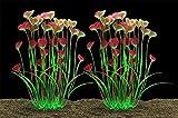Plantas de acuario grandes artificiales de plástico para peces, decoración de peces, seguro para todos los peces, 15.7 (40 cm) de alto, 4 (10 cm) de ancho, 2 unidades de color morado