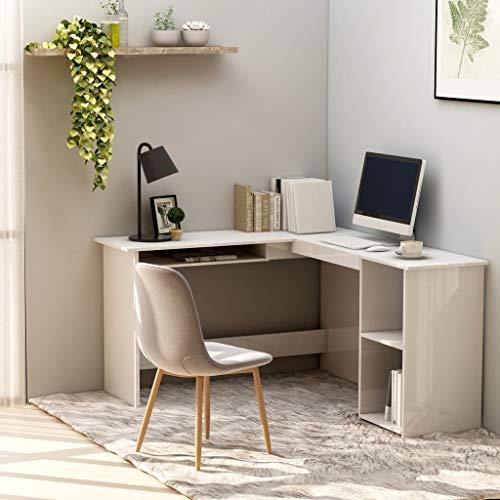 SHUJUNKAIN Escritorio en Forma de L aglomerado Blanco Brillo 120x140x75 cm Mobiliario Mobiliario de Oficina Escritorios Blanco con Brillo