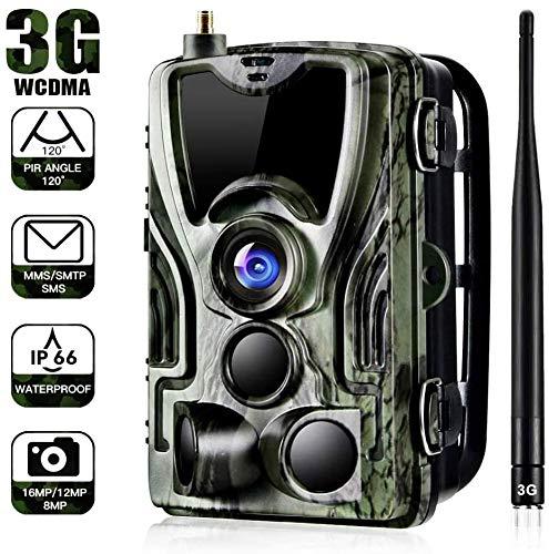 QWWQ 3G Wildkamera Fotofalle Mit HandyüBertragung, 0,3s Auslösezeit, 16MP 1080P HD Jagdkamera 24m 44 IR LED IP66 Wasserdicht,Beutekameras Für Tierbeobachtung Haussicherheitsüberwachung
