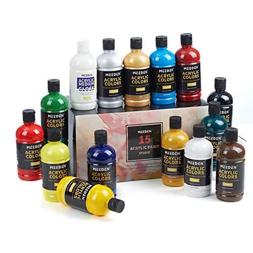 Juego de pintura acrílica Meeden Artist 15 colores 500 ml, perfecto para lienzo, madera, cerámica con excelente cobertura para profesionales y estudiantes
