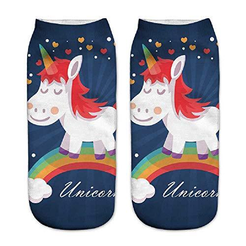 ZHANGNUO Calcetines De Unicornio Estampados Coloridos Calcetines Cortos De Chicas Divertidas Calcetines De Tobillo De Corte Bajo Lindos De Dibujos Animados Marfil