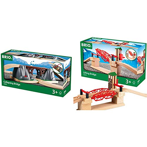 BRIO World - 33391 Collapsing Bridge | 3 Piece Toy Train Accessory for Kids Age 3 and Up & 33757 Lifting Bridge | Toy Train Accessory with Wooden Track for Kids Age 3 and Up