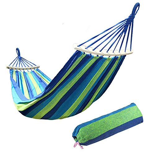 Ruixf Garden Hammock with Wooden Spread Bars and Carry Bag, Portable Canvas Striped Breathable Hammocks Perfect for Patio Yard Outdoors (M - 200cm X 100cm,Blue)