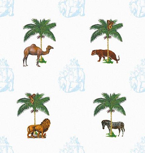Dschungel Tapete La Ménagerie (blau) mit wilden Tieren unter Palmen - Vliestapete Tiere - Retro Kolonial Wanddeko - schöne GMM Wandtapete für edle Wohnakzente (Muster 20 x 46,5cm)